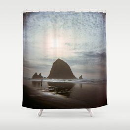 A Lonely Walk on Cannon Beach - Holga Film Photograph of Haystack Rock Shower Curtain
