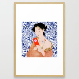 confused timeline with japanese lady Framed Art Print