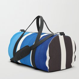 Blue Minimalist Mid Century Modern Color Fields Ombre Watercolor Staggered Squares Duffle Bag