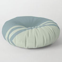 Blue-Green Green Horizontal Stripe Pattern 2021 Color of the Year Aegean Teal and Salisbury Green Floor Pillow
