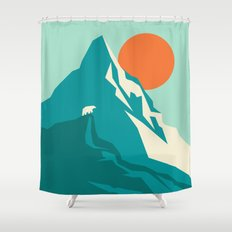 As the sun rises over the peak Shower Curtain