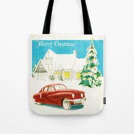 Vintage Christmas Tucker 48' Vintage Car Tote Bag