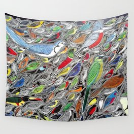 Toucans, parrots and tropical birds of Costa Rica Wall Tapestry