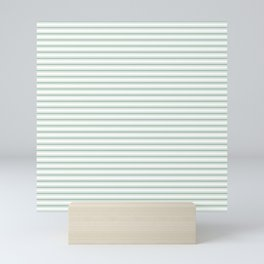 Mattress Ticking Narrow Horizontal Striped Pattern in Moss Green and White Mini Art Print