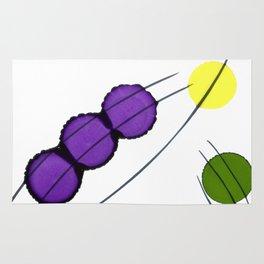 Purple Yellow Green Drops Rug