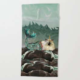 Behold the Mythical Merkitticorn - Mermaid Kitty Cat Unicorn Beach Towel