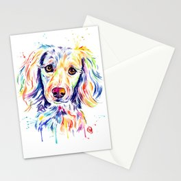 Colourful Pup Watercolor Pet Portrait Painting Stationery Cards