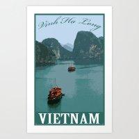 Vinh Ha Long (Ha Long bay) Vietnam Retro Travel Art Print