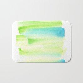 [170105] 8 Color Study Blue Green  Watercolor Brush Stroke Bath Mat