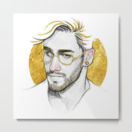Golden Glasses Metal Print