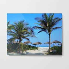 Coconut trees near the bank of sea Metal Print