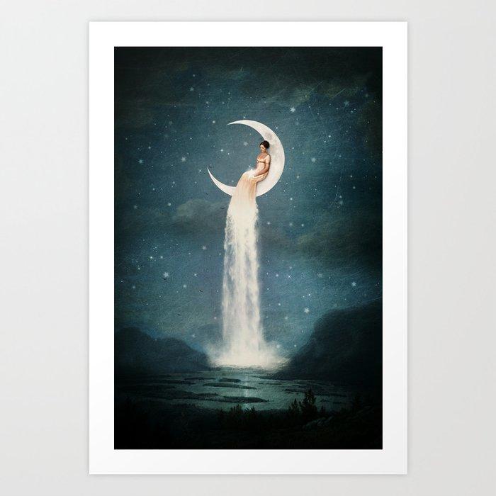 Moon River Lady Kunstdrucke