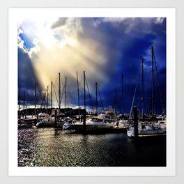 Sky Opening to Sailboats Art Print