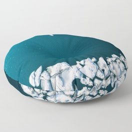 Minimalist Ice Bergs in the blue Ocean - Aerial Photography Floor Pillow