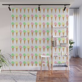 Vanilla, Mint, and Strawberry Ice Cream Cone Pattern Wall Mural
