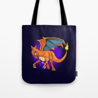 charizard Tote Bags featuring Charizard by Aliece Carney
