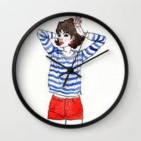 stripe Wall Clocks featuring Stripe by Megan Jeffs
