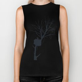Silhouette Of Stalk Nest and Fledglings Vector Biker Tank