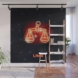 Zodiac red neon — Libra Wall Mural