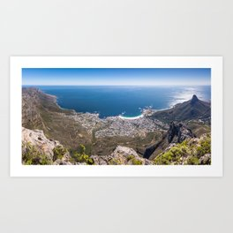 Panoramic view of Camps Bay from Table Mountain in Cape Town, South Africa Art Print