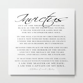 Invictus Motivational Poem by William Ernest Henley Metal Print