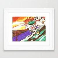 okami Framed Art Prints featuring Okami Landscape by Yukie