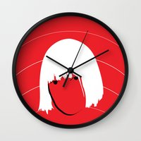sia Wall Clocks featuring Girls Like Sia  by Smudgey Paw