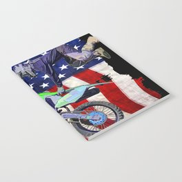 High Flying Freestyle Motocross Rider & US Flag Notebook