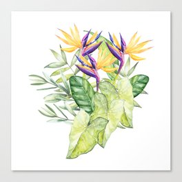 Watercolour Bird-of-Paradise Flowers and Leaves Pattern Canvas Print