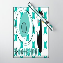 Mid-Century Modern Atomic Art - Teal - Cat Wrapping Paper