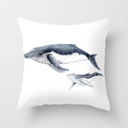 Humpback whale with calf Throw Pillow