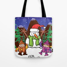 Christmas Snowman and Children Tote Bag