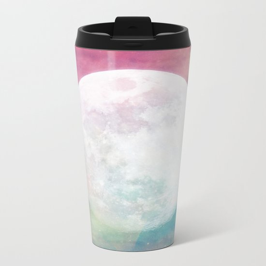 Moon in Iridescent Nebula Metal Travel Mug
