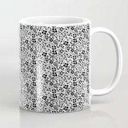 Black and White Floral Mini Print Coffee Mug