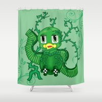 poison ivy Shower Curtains featuring Poison Ivy Bird by Beaston Designs