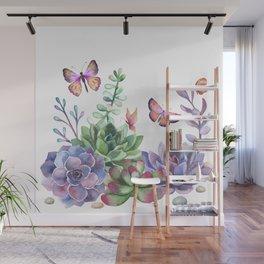 A Splendid Secret Succulent Garden With Butterfly Visitors Wall Mural
