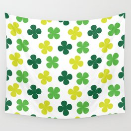 Lucky Irish Four Leaf Clovers Green and Lime Pattern Wall Tapestry