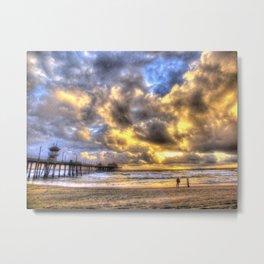 A Fire Sky Sunset * Huntington Beach Pier Metal Print