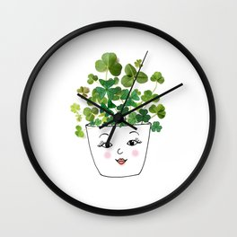 Shamrock Face Vase Wall Clock