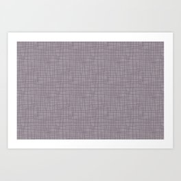 Dark Lavender - Muted Plum and Lilac Grunge Basketweave Line Pattern Art Print