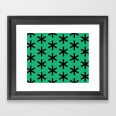 Vondel Black on Green Pattern Framed Art Print
