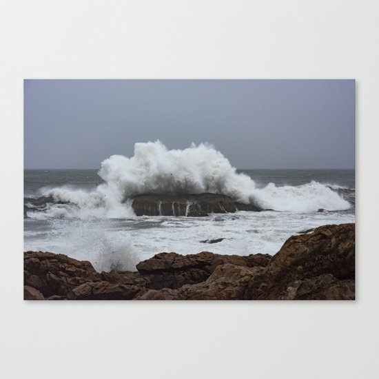 Wave splashing on the rocks Canvas Print