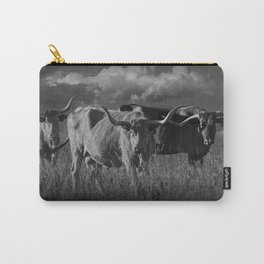 Texas Longhorn Steers under a Cloudy Sky in Black & White Carry-All Pouch