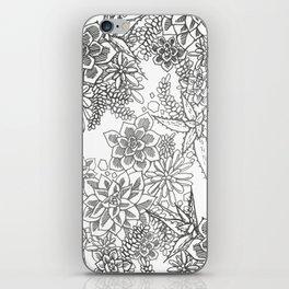 Succulent doodle - black + white iPhone Skin