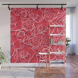 Roses hand drawn vintage illustration pattern  Wall Mural
