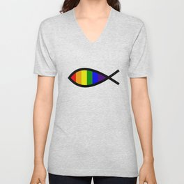 Rainbow Christian fish symbol for LGBT inclusive church Unisex V-Neck