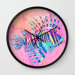 Electric Lionfish Wall Clock