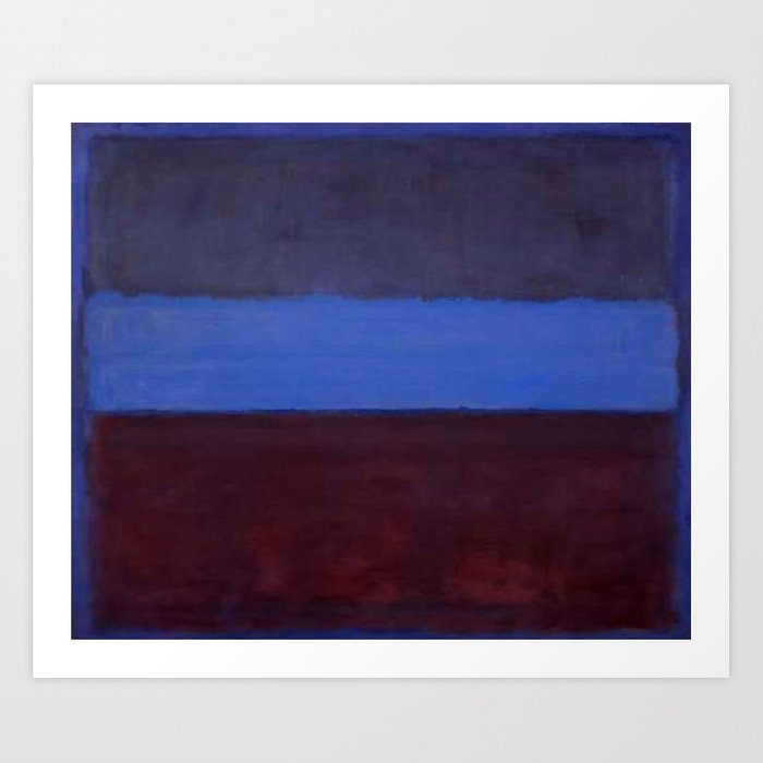 No 61 Rust And Blue 1953 By Mark Rothko Art Print By