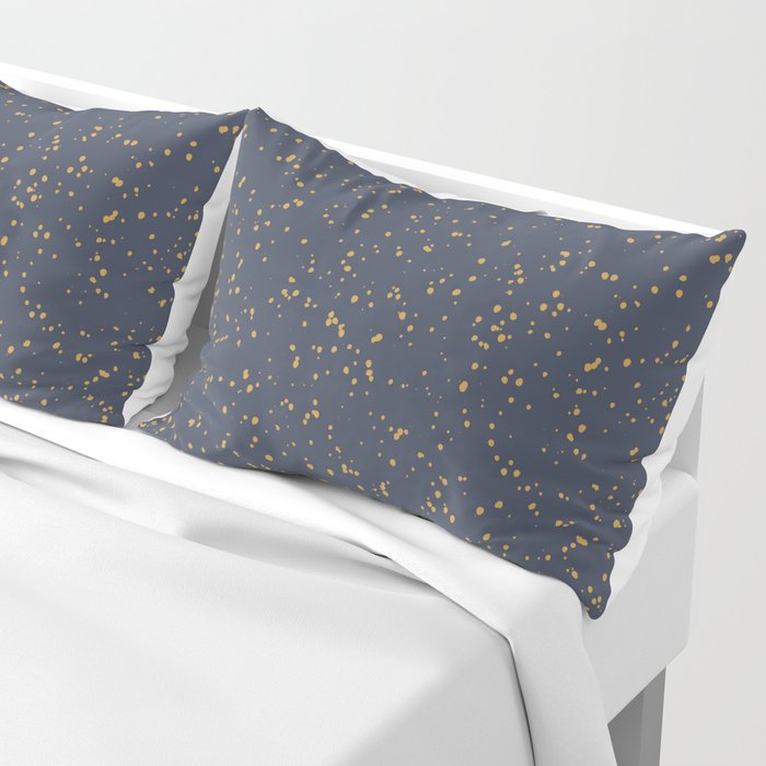 Speckles I: Dark Gold on Blue Vortex Pillow Sham