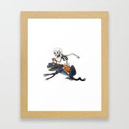 Skull and frog Framed Art Print